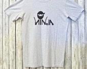 Men's Ninja T shirt Typography Tshirt, Funny Graphic Tee, EcoFriendly Clothing, Organic Cotton Bamboo Tshirt by Uni-T, Gift for Him