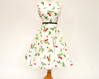 50's/60's Vintage Retro Fit and Flare Dress, Cherry Print Dress, Women's Medium