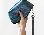 Blue Metallic Pouch, Small Leather Pouch, Party Evening Bag, Metallic Clutch, Glam Rock Bowie Bag