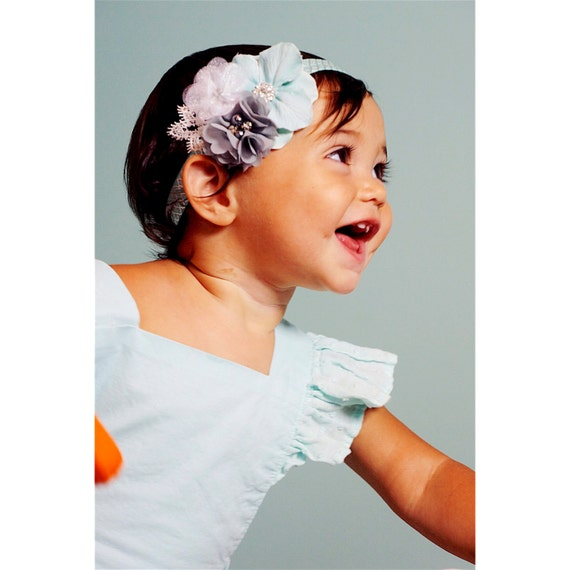 Boutique Headband, Adjustable Headband, Baby Headband, Flower Headband, Chloe Reese, Aqua, and Silver Headband