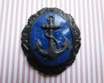 Anchor Cameo Pendant OR Brooch (blue)