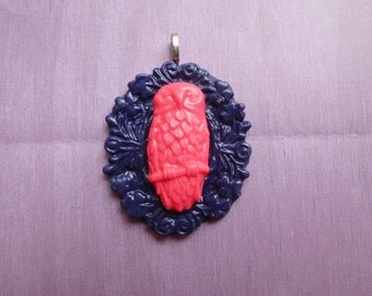 Owl Pendant (purple and pink)