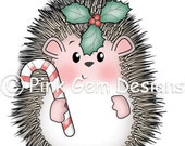 Digital Digi Stamp  Hedgy with Candy Cane - Christmas Hedgehog - Makes Cute Christmas Cards