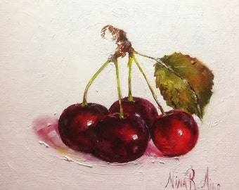 Cherries with Leaves Original Oil Painting Nina R.Aide 6x6 canvas Fine Art Studio Gallery Kitchen Art Small Painting