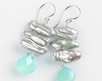 Silver Biwa Pearl Earrings - Aqua Chalcedony, Sterling Silver, Statement Earrings, Freshwater Pearls