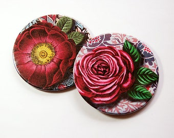Floral Coasters, Coasters, Set of Coasters, Drink Coasters, Barware, Hostess Gift, Home Decor, Housewarming Gift, Red, Flowers (5106c)