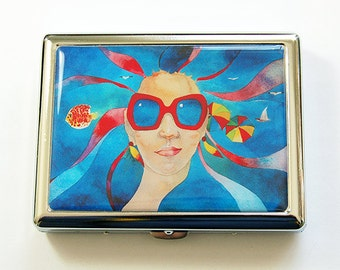 Cigarette Case, Cigarette Holder, Cigarette box, Cigarette dispenser, Stainless Steel, psychedelic, Hippy Chic, Blue Case, Boho (5195)
