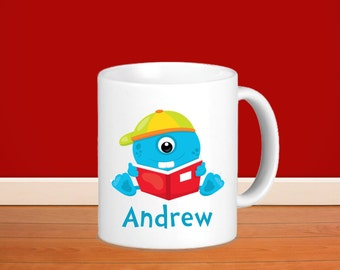 Monster Kids Personalized Mug - Monster School with Name, Child Personalized Ceramic or Poly Mug Gift