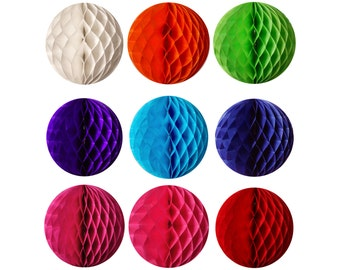 Honeycomb Balls - 8 inches - White, Orange, Lime Green, Purple, Blue, Navy Blue, Fuchsia, Pink, Red