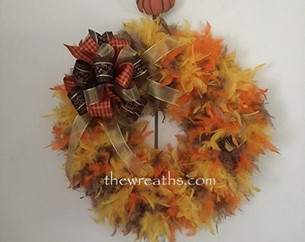 Autumn Wreath, Fall Wreath, Thanksgiving Wreath, Fall Door Decor, Fall Door Hanger, Feather Wreath