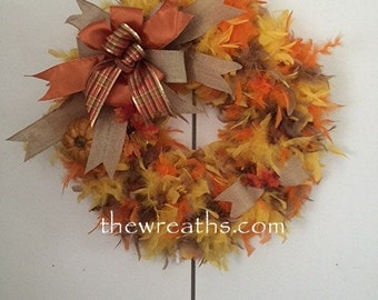 Fall Wreath, Autumn Wreath, Thanksgiving Wreath, Fall Door Decor, Fall Door Hanger, Feather Wreath