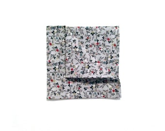 Grey Floral Cotton Pocket square, Colorful Flowers