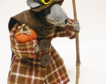 Thanksgiving Mouse - Made To Order, Primitive Mice, Fall Autumn Seasonal Mouse