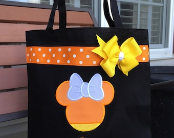 Personalized Halloween Candy Corn Minnie Mouse Autograph Trick or Treat Bag - Library Book Tote Bag Disney Mickey Mouse Purse