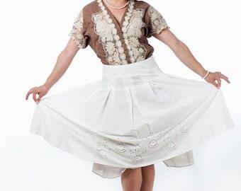 Rusmantic Beautiful 90s Vintage Ivory Gathered Skirt
