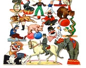 Circus Die Cuts Supplies Vintage German 1930s Scrapbook Crafts Numbered 1087 //  Paper Birthday Party Decorations Collectible Ephemera