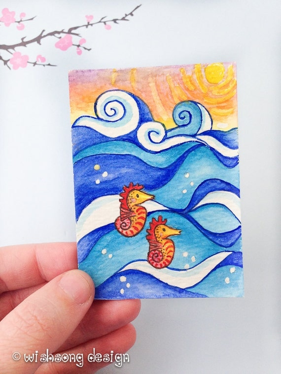 "Seahorse painting, Original ACEO Watercolour art, ocean painting, ocean art, under the sea art, whimsical seahorse ""Seahorse Sunrise"""