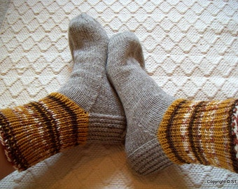 Big size mens BOOT SOCKS warm gray with mustard yellow browns Hand knitted Warm Durable Cozy wool Gift idea Handmade in  FINLAND