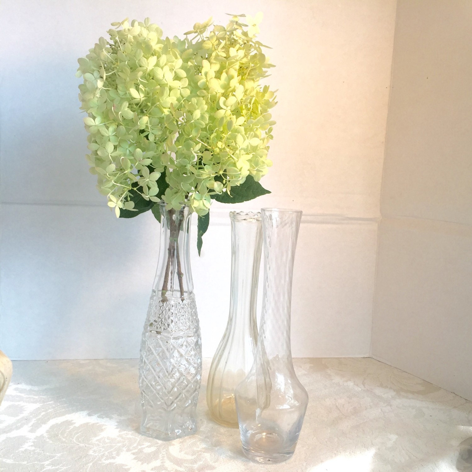 Vintage glass bud vases wedding or party decor supplies for