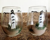 Hand Painted Stemless Wine Glasses -Lighthouse Stemless Glasses - Gift Idea