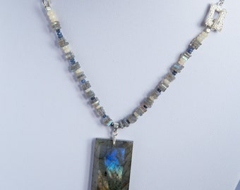 Northern light Collection, sterling silver necklace, rectangle fancy rainbow flashy labradorite, with genuine sapphire and opal