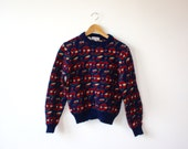 Sale! Cute Navy Shetland Wool Sweater Womens Small