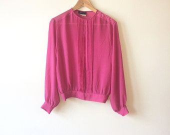 Pink Drapey Blouse Front Pleats Womens Small