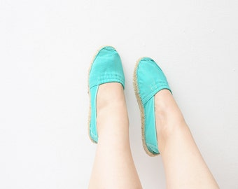 Vintage mint green women 90s espadrilles