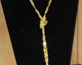 ON SALE----Long Yellow 3 Strand Seed Beads Necklace