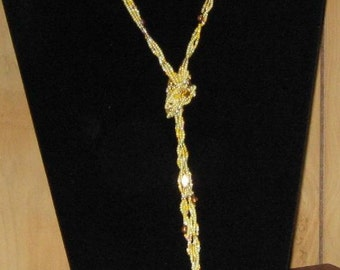 Long Yellow 3 Strand Seed Beads Necklace