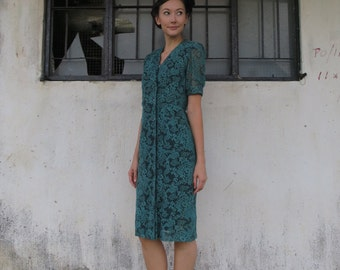 Vintage Dress/Small/80s does 40s/Jade/Emerald/Green/Lace/Ruffle Collar/Flapper/Glamour and Grace/Valentine Date