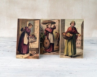 Three women working, Victorian prints. Set of 3 original vintage prints. Frame together or as a series of 3.