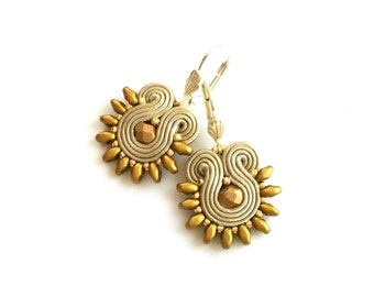 Soutache earrings - gift for girlfriend - gift for wife - birthday gift for sister - statement earrings Bridesmaids earrings Spring wedding