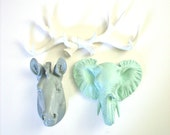 Set of 3 ANY color:  1 faux antler rack and any 2 small faux taxidermy animal head wall mounts wall hanging // any color combination //