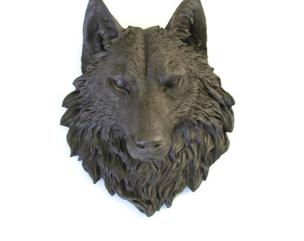 DARK BROWN Faux Taxidermy Large Wolf Head Wall Mount wall hanging: Willem the Wolf //woodland // farmhouse decor //office decor// nursery