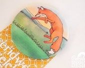 Leaping Fox Fabric Badge, Large Badge, Pin Badge, Fabric Covered Button, Mothers Day Gift