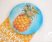 Pineapple Fabric Badge, Large Badge, Pin Badge, Fabric Covered Button, Mothers Day Gift