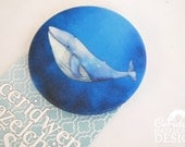 Whale Fabric Badge, Large Badge, Pin Badge, Fabric Covered Button, Mothers Day Gift
