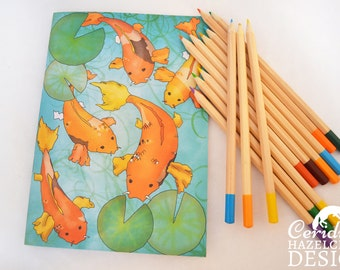 Koi Carp Notebook, Journal, Note Pad, Blank Pages