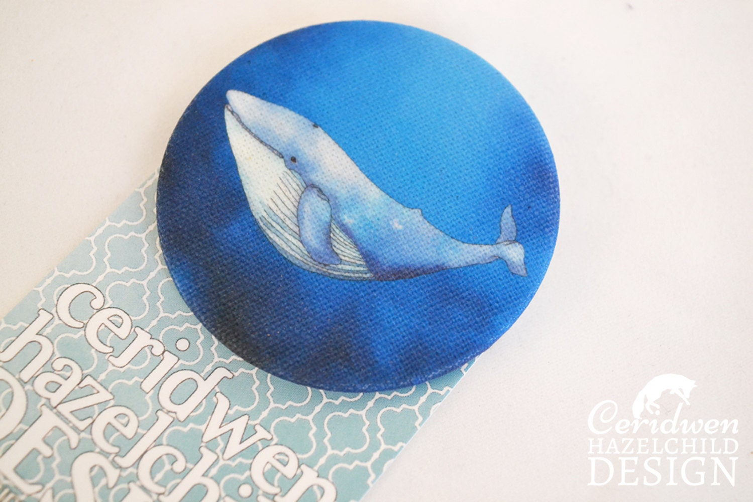Whale fabric badge large badge pin badge fabric covered for Whale fabric