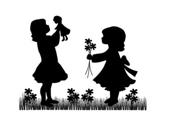 SILHOUETTE CHILDREN MURAL Decal Vintage Play Doll Wall Art Stickers Child Room Baby Girl Nursery Kids Cameo Decor