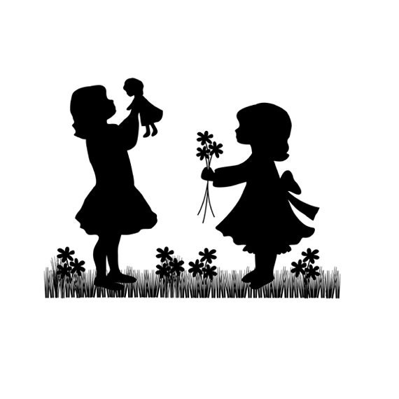 GIRL NURSERY DECOR Cameo Vintage Silhouette Mural Decals Wall