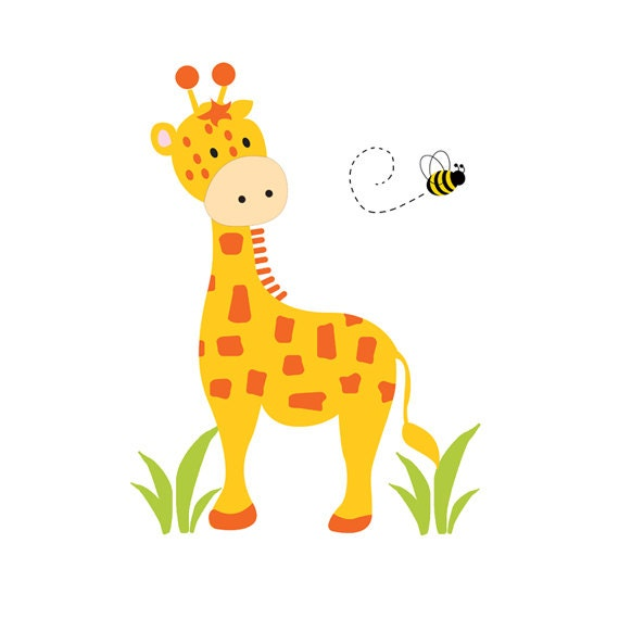Giraffe mural decal wall art baby boy safari jungle animal for Baby jungle mural