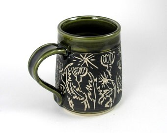 large mug, cup, coffee cup, tea mug, Carved Black n white Thistle and Olive Oil Green