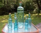 7 Blue Bottles Blue Centerpiece Aqua Glass Bottles Wedding Decor Blue Vases Bud Vases Blue Glass Vases Aqua Wedding Decor