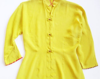 Vintage 1950s Yellow Silk Chinese Theatrical Top