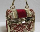 1970's Borsa Bella Elegant Trunk Style Tapestry Handbag Made In Italy