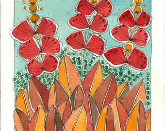 Summer Flowers ,Red Flowers , Watercolor Painting, Art, Home And Living
