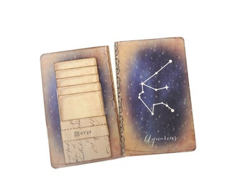 Aquarius Journal, Zodiac Constellation Journal, Horoscope Diary, Astronomy, Astrology, Cosmos, Universe, Stars, Aquarious Notebook