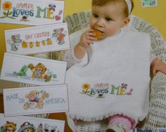 Leisure Arts Cute 'n' Quick Baby Bibs cross stitch pattern leaflet
